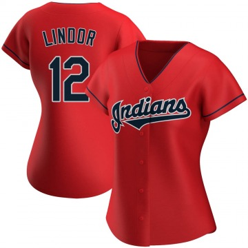 Authentic Francisco Lindor Women's Cleveland Indians Red Alternate Jersey