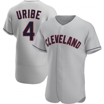 Authentic Juan Uribe Men's Cleveland Indians Gray Road Jersey