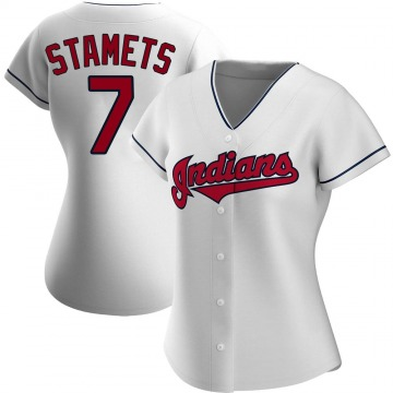 Replica Eric Stamets Women's Cleveland Indians White Home Jersey