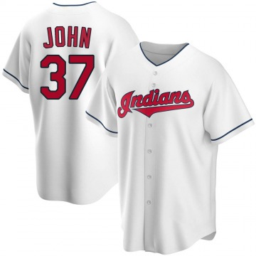 Replica Tommy John Men's Cleveland Indians White Home Jersey
